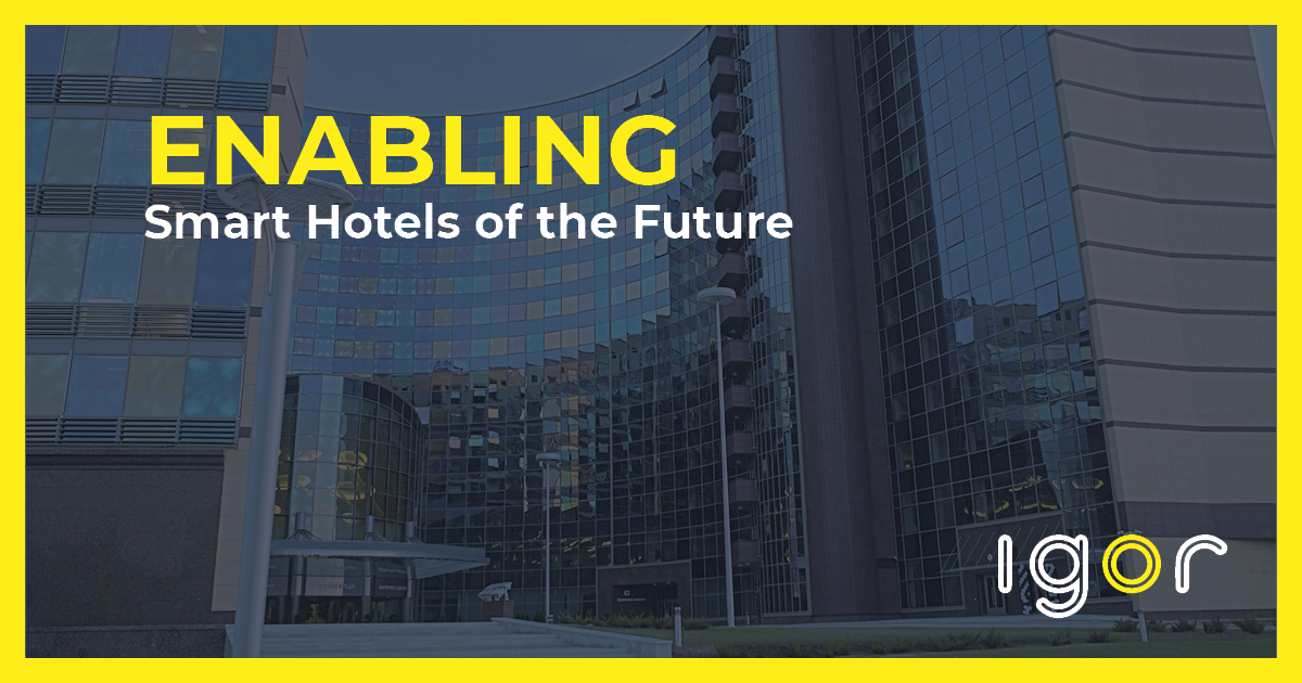 Building image with text reading enabling smart hotels